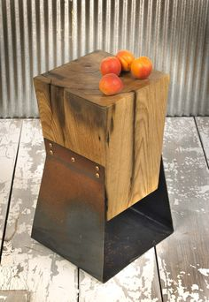 Reclaimed Wood and Farm Metal End Tables A Pair. $980.00, via Etsy.