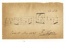 Autographed musical quotation from the Polonaise, Op. 53, by Frédéric Chopin.