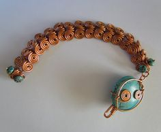 Turquoise and Copper Egyptian Spiral by SwimmingTurtleDesign, $30.00