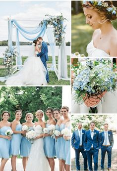 spring summer light blue and greenery wedding color ideas August Wedding Colors, Lavender Wedding Colors, White Roses Wedding, Spring Wedding Colors, Blue Wedding, Light Blue Bridesmaid Dresses, Blue Bridesmaids, Ocho Rios, Color Palettes