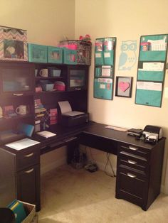 I pinned this because I basically have this desk ( a corner one) and most of the pics I find of well organized, likeable office spaces have these cute little teeny tiny desks that look great in pics but aren't what I own... this being my own desk, I would like to incorporate the wall and shelf designs around a different color scheme but still make it workable.