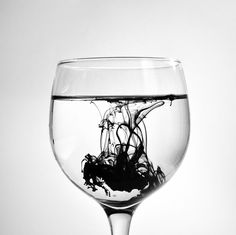 black and white, glass, ink, photography, water