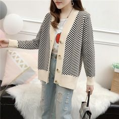 2019 Women Vintage V-Neck Striped Knitted Sweater 2019 Autumn Long Sleeve Loose Sweaters Casual Jacket Cardigan Coat