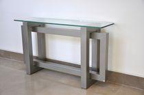 Mesa consola / moderna / de cristal / de hierro