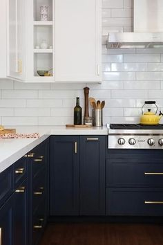 Break Out The Paint Blue Kitchens Are Très Chic Right Now Via Purewow
