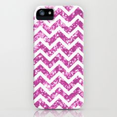 Pink blurry sparkle chevron iPhone Case by Rex Lambo - $35.00