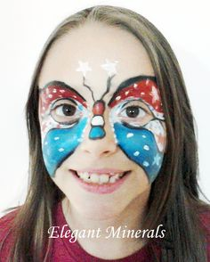 Butterfly 4th of July natural face paint design. Colors used: red, royal blue, white, black