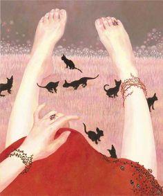 Erika Yamashiro 山城えりか (Japanese, b. 1979, Okinawa, Japan) - Moonlight, 2006    Paintings: Oil on Canvas