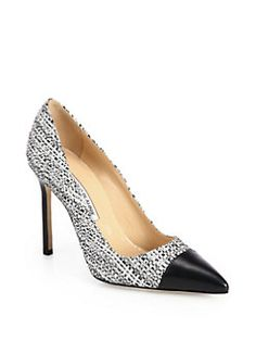 Manolo Blahnik - Bipunta Tweed & Leather Cap-Toe Pumps