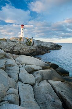 Peggy's Cove Lighthouse, at sunrise in Nova Scotia.