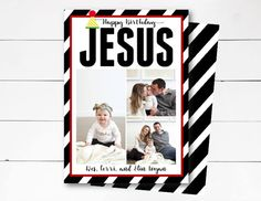 Happy Birthday Jesus Christmas Card, Christmas Photo Card, Holiday Photo Card, Scripture Christmas Card, DIY or Printed by NOLALOULOU on Etsy