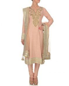 Blush Suit with Gota Patti - Ritu Kumar - Designers Indian Suits, Indian Attire, Indian Dresses, Indian Wear, Punjabi Suits, Indian Style, Long Tunic Dress, Dress Up, Desi Clothes