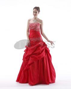90db6ef249c964 Cheapest Ball Gown Strapless Floor Length Beading Ruffles Taffeta Prom  Dresses