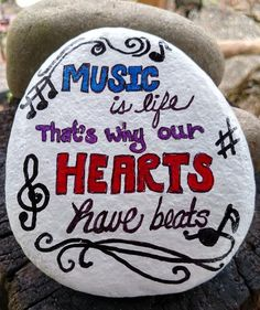 """Items similar to Hand Painted Stone, """"MUSIC is life that's why our HEARTS have beats"""" Rock on Etsy Rock Painting Ideas Easy, Rock Painting Designs, Paint Designs, Pebble Painting, Pebble Art, Stone Painting, Sand Crafts, Rock Crafts, Diy Crafts"""
