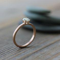 Cushion Cut  Moissanite Engagement Ring, Modern Prong Ring Design, Diamond Alternative in Recycled 14k Rose  Gold. $848.00, via Etsy.