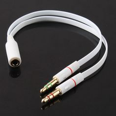 3.5mm Gold Plated Audio Mic Y Splitter Cable Headphone Adapter Female To 2 Male Cable for PC Laptop etc White