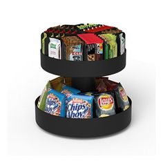 Mind Reader 'Supreme' Lazy Suzan 2 Tiered Breakroom Snack Organizer, Black - Your in your office, no time for lunch- Grab a healthy granola bar or even a bag of chips. The Mind Reader Supreme will keep all your snacks and bars organized and together.