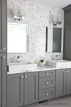 Marble backsplash in hexagon shape with vanity cabinets painted Chelsea Gray, do. Marble backsplash in hexagon shape with vanity cabinets painted Chelsea Gray, double sinks and chrome accents by Kylie M Interiors, Budget Bathroom, Bathroom Renovations, Bathroom Makeovers, Basement Remodeling, Modern Bathroom, Small Bathroom, Bathroom Gray, Bathroom Colors, Bathroom With Double Sink