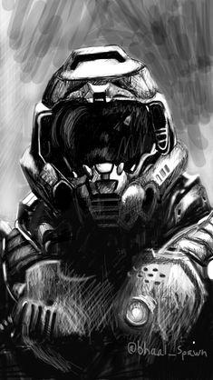 Print - Doom Slayer - original digital drawing - sizes x to poster Doom Demons, Slayer Meme, Epic Pictures, Demon Art, Image Fun, Game Art, Pc Game, Pastel Drawing, Video Game Characters