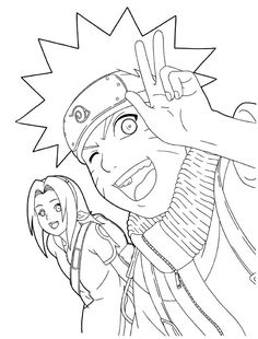 naruto and sakura smile coloring pages