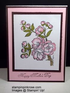 Stampin' Up! Mother's Day card made with Indescribable Gift stamp set and designed by Demo Pamela Sadler. The sweet roses are perfect for any occasion. They are colored with the Blends. See more cards at stampinkrose.com and etsycardstrulyheart