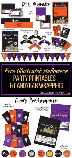 Free Halloween Party Printables and Candybar Wrappers