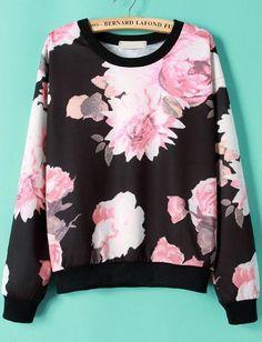 Floral Print Black Sweatshirt