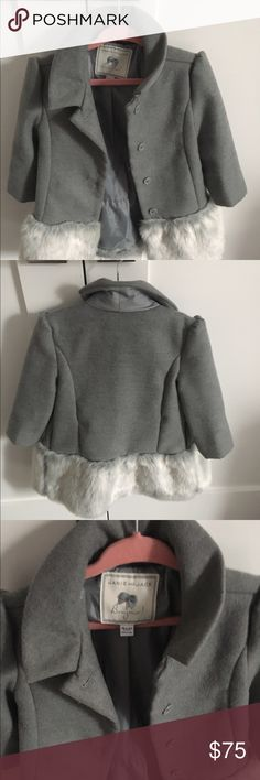 New Jannie & jack girls coat New w/no tags girls coat / color gray w/fur on the bottom,size 18-24 mo, runs little big. Very soft. Jackets & Coats Pea Coats