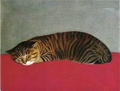 Surrealistic Stillness | painting of a cat, 1966 | Hasegawa Rinjiro
