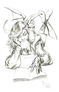 itty Pryde and Lockheed sketch by Alan Davis for artist Leinil Yu (2008)