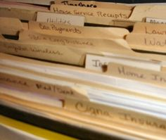 site for home filing system and other home organization