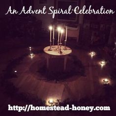 An Advent spiral is a beautiful, peaceful ritual and celebration of this season of lights. We participate in one each year with our Waldorf homeschooling cooperative and the kids love and look forward to the celebration each year. | Homestead Honey