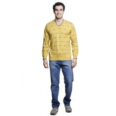 Buy MSG Gold V Neck Sweater Online at cheap prices from Shopkio.com: India`s best online shoping site