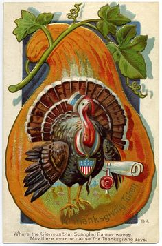 The classic symbols of a turkey and pumpkin adorn this lovely vintage Thanksgiving postcard.