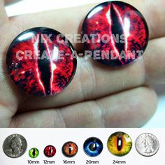 Red Evil Dragon Glass Taxidermy Eyes