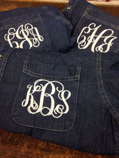 Denim monogrammed shirt brides and bridesmaid by stacysplace004, $28.00