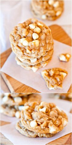 Soft and Chewy Peanut Butter Oatmeal White Chocolate Cookies - Combining 3 favorite cookies into one so you don't have to choose which to make! Easy, no-mixer dough! (easy chocolate chip cookies no mixer) Peanut Butter White Chocolate, White Chocolate Chip Cookies, Peanut Butter Oatmeal, Peanut Butter Chips, Chocolate Chips, Köstliche Desserts, Dessert Recipes, Yummy Recipes, Yummy Cookies