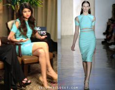 Selena Gomez sat down in an interview with her Spring Breakers costars wearing a mint cut-out dress from the Cushnie et Ochs Spring 2013 RTW collection. This chic dress is yet to hit stores.