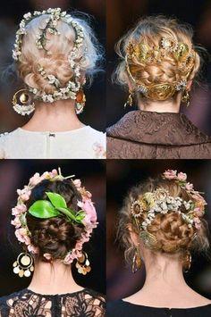 Dolce & Gabbana hair trends Spring 2014, braids, updo's, hair accessories