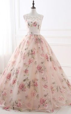 Flowers Pearls Pattern Appliques Organza Floor Length Ball Gown Sleeveless Long Prom Dress by prom dresses, $186.15 USD