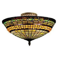 Westmore Lighting Jewelstone 16-In W Classic Bronze Stained Semi-Flush Mount Light Sf09340