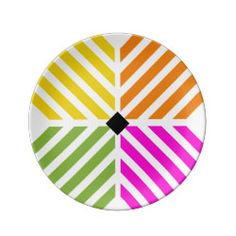 Lucky Stripes Porcelain Plate in Rainbow