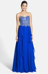 Alyce Paris Embellished Layered Chiffon Strapless Gown