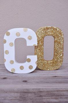 Gold Glitter Polka dot Letter