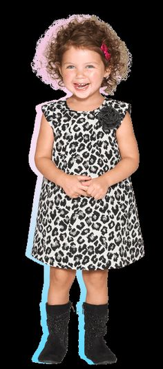 Pretty Kitty- She'll be ferociously cute in this leopard print dress perfect for parties and more! we add matching black boots for the purr-fect fashionable finish. #babygirl #PLACEHoliday #dress