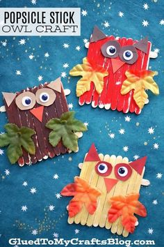 This popsicle stick craft is Owl-dorable! A fun fall arts and crafts… This popsicle stick craft is Owl-dorable! A fun fall arts and crafts project. Fall Arts And Crafts, Fall Crafts For Kids, Arts And Crafts Projects, Thanksgiving Crafts, Toddler Crafts, Crafts For Teens, Holiday Crafts, Art For Kids, Fall Crafts For Preschoolers