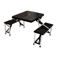 Picnic Time 2-Ft 1-4/5-In Black Plastic Square Folding Picnic Table 81
