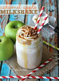 This Caramel Apple Milkshake is creamy, delicious, and swirled with cinnamon, it's like sticking a straw into a caramel apple and slurping up all those yummy fall flavors!