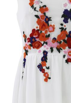 Bridal Shower Floral Embroidered Asymmetric Chiffon Dress - New Arrivals - Retro, Indie and Unique Fashion