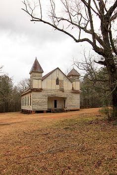 Abandoned Baptist church, Taliaferro County, Georgia.
